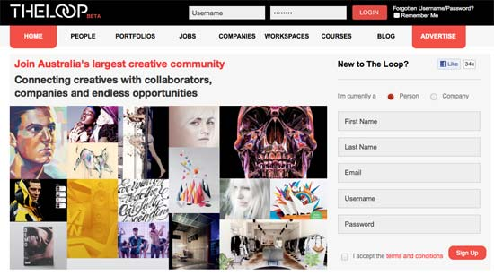 The Loop Online Creative Portfolios, Creative Jobs and Creative Spaces