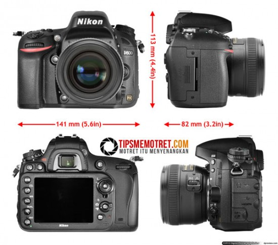 Ukuran Bodi Nikon D600
