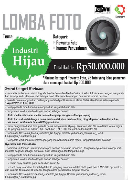Lomba Foto Industri Hijau Total Hadiah 50 Juta