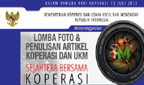 Lomba Foto dan Penulisan Artikel Koperasi dan UKM 2013