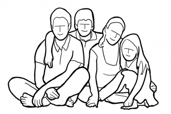 Memotret keluarga Posisi Duduk Di Lantai