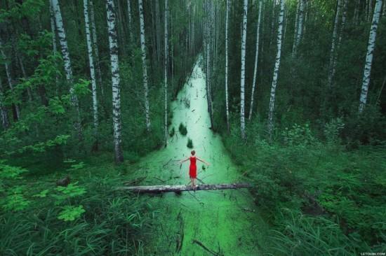 Contoh Foto Landscape Dengan Model Di Hutan
